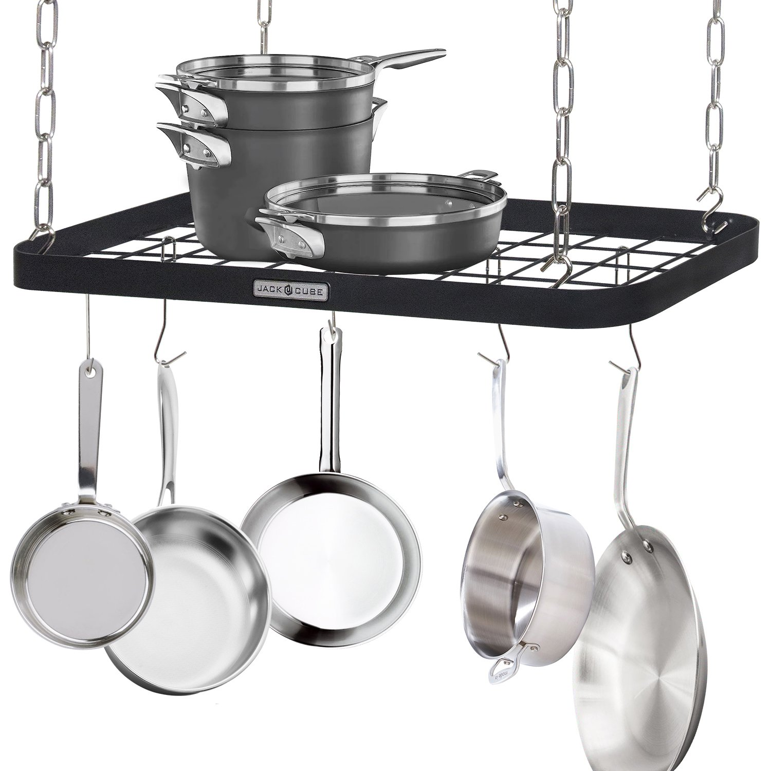 JackCubeDesign Ceiling Mount Grid Pot Pan Rack Hanger Organizer Kitchen Storage Shelf Tray Holder with Utility 8 Hooks(24.4 x 11.8 x 1.2 inches) – :MK397B