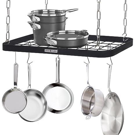 JackCubeDesign Ceiling Mount Grid Pot Pan Rack Hanger Organizer Kitchen  Storage Shelf Tray Holder with Utility 8 Hooks(24.4 x 11.8 x 1.2 inches) –  ...