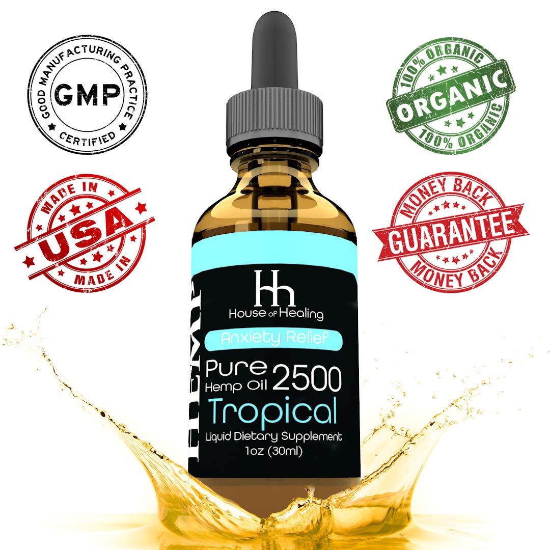 House of Healing Hemp Oil for Pain & Anxiety Relief - 2500mg - Organic Hemp Drops - Natural Hemp Oils for Better Sleep, Mood & Stress - Pure Hemp Extract - Tropical Flavor