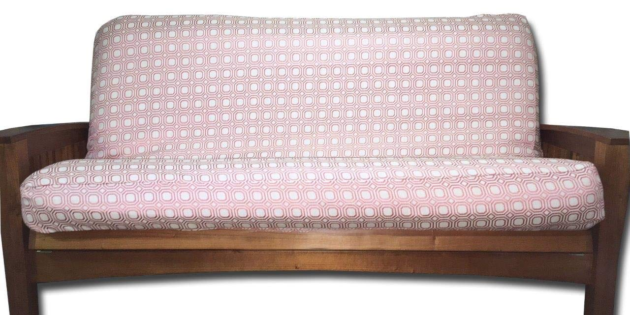 Lifestyle Exclusives Luxury Full Size Futon Cover Fits Mattress 54x75 x 6 to 8 Pink Grid Lscovers