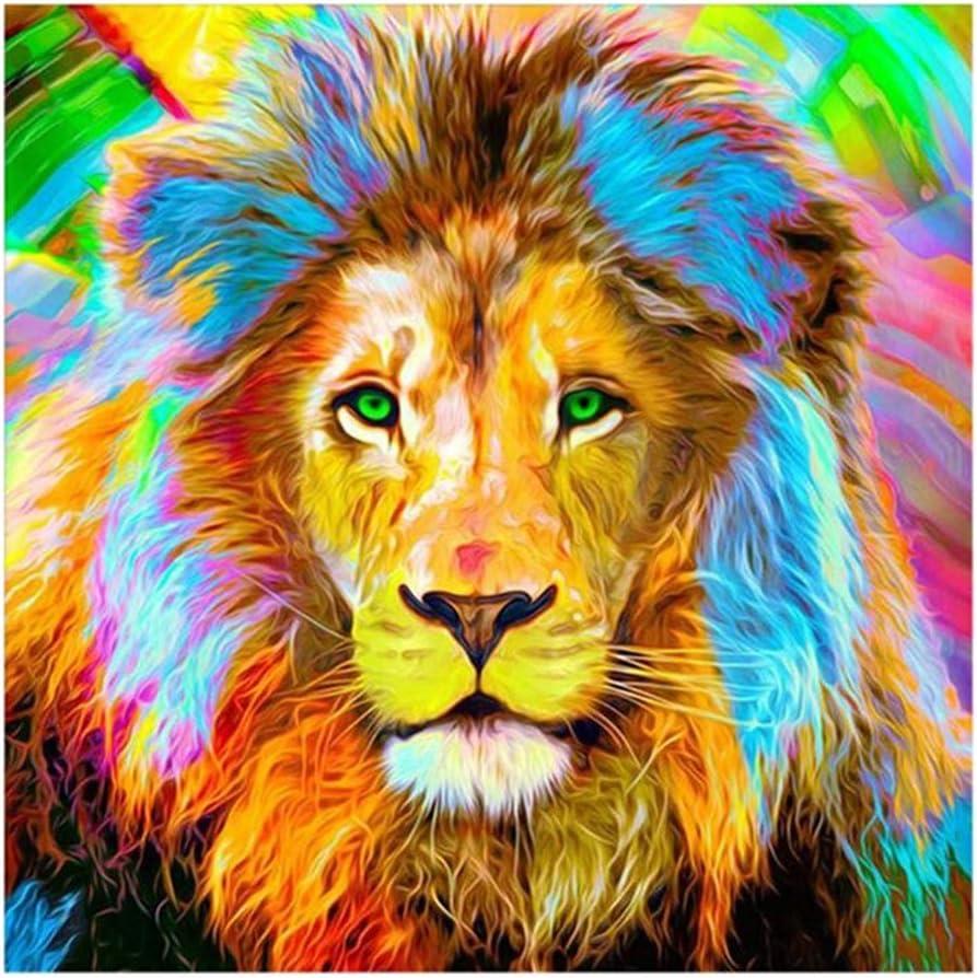 Pintura Por Diamantes cuadrados leon multicolor 30 x 40 cm