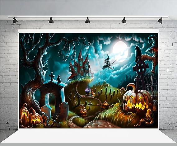 Halloween Night Background 6.5x6.5ft Haunted Castle Photography Backdrop Grimace Pumpkin Lamp Full Moon Bat Graveyard Cross Zombie Hand Holiday Horror Party Autumn Photo Prop Studio Wallpaper