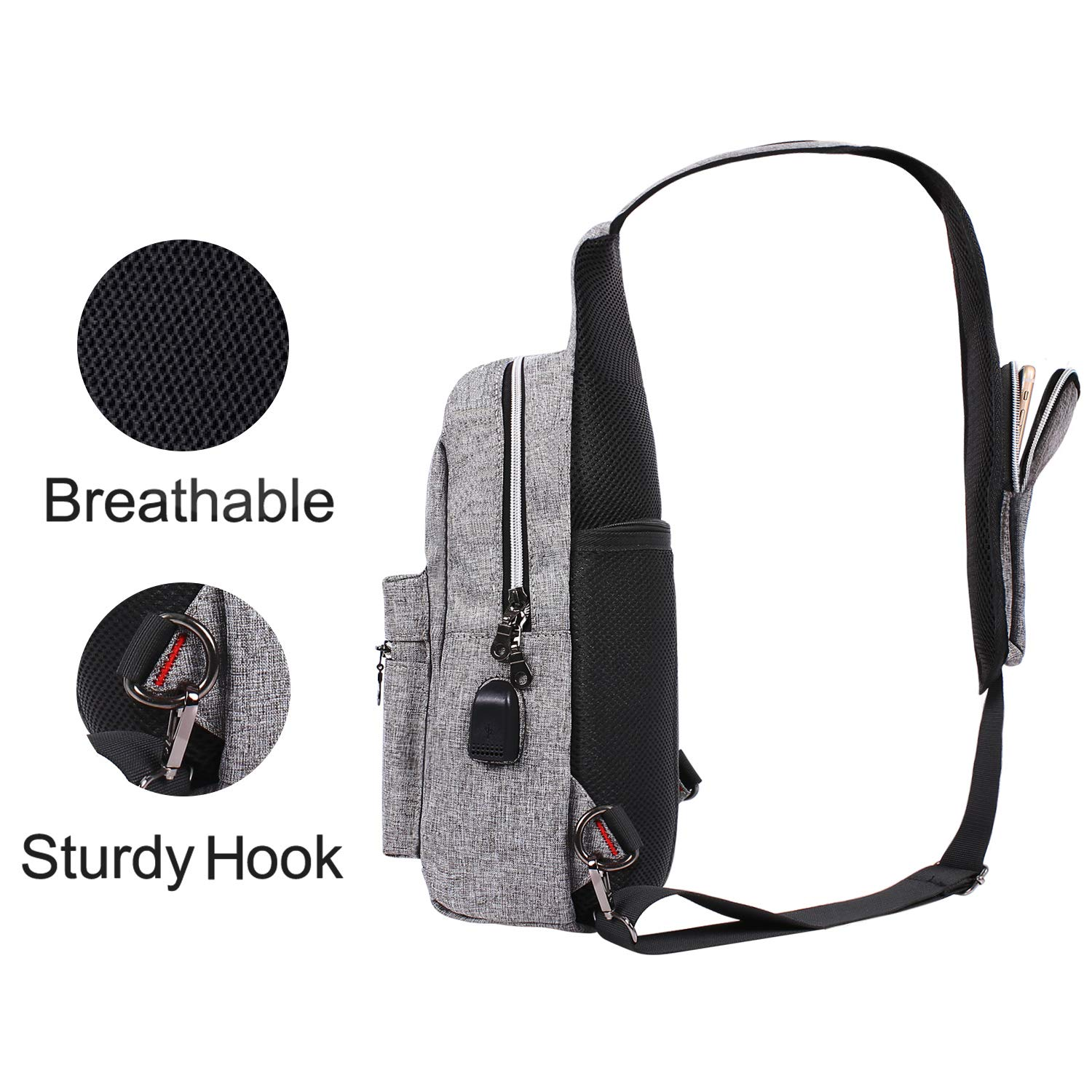 NEW Sling Bag Polyester Water Repellent Chest Shoulder Gym Fanny Outdoor Hiking