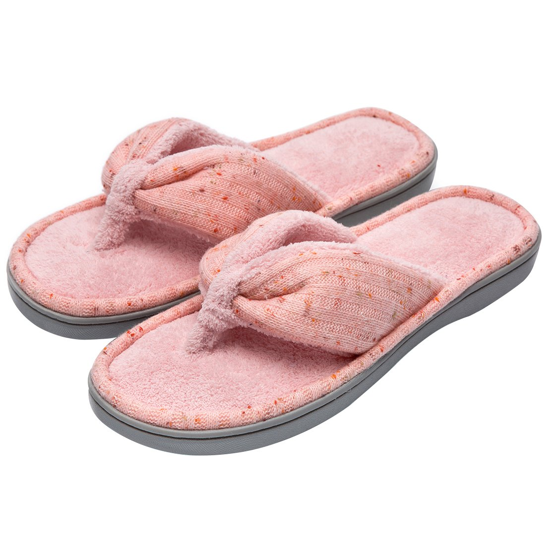 Women's Soft & Comfy Knitted Plush Fleece Lining Memory Foam Spa Thong Flip Flops House Slippers (Small/5-6 B(M) US, Pink)