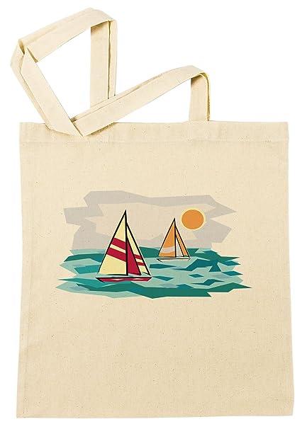 Barco Queche Caricatura Ilustración Bolsa De Compras Playa De
