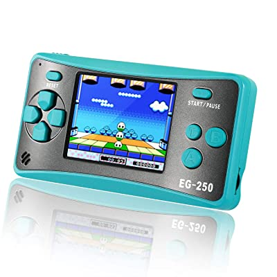 Easegmer Handheld Game Console for Kids Adults, EG-250 Retro Portable Video Games Console, Built-in 200 Games 12 Bit 2.5 Inch LCD Arcade Gaming Family Games Player, Best Gift for Boys Girls-Turquoise: Toys & Games