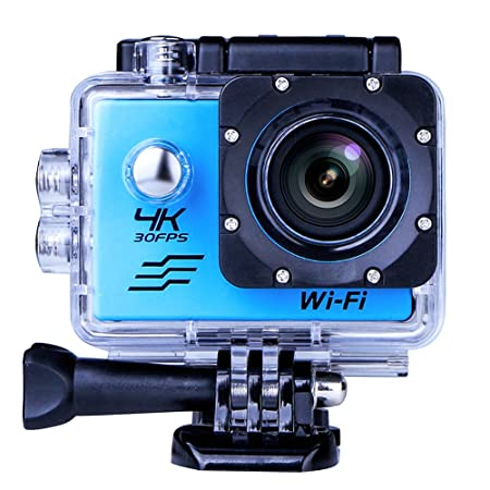 Sports Camera Sport Video 4K WiFi Action Cam 16 MP Underwater Camcorder HD 1080P and a Batteries 170 Atilde; sbquo; Acirc; deg; Wide Angle Blue Camera