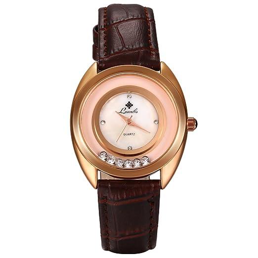 LANCARDO Reloj Analógico Cuarzo de Seiko Original Dial con Diamantes Artificiales Fluentes Correa de Cuero Ajustable