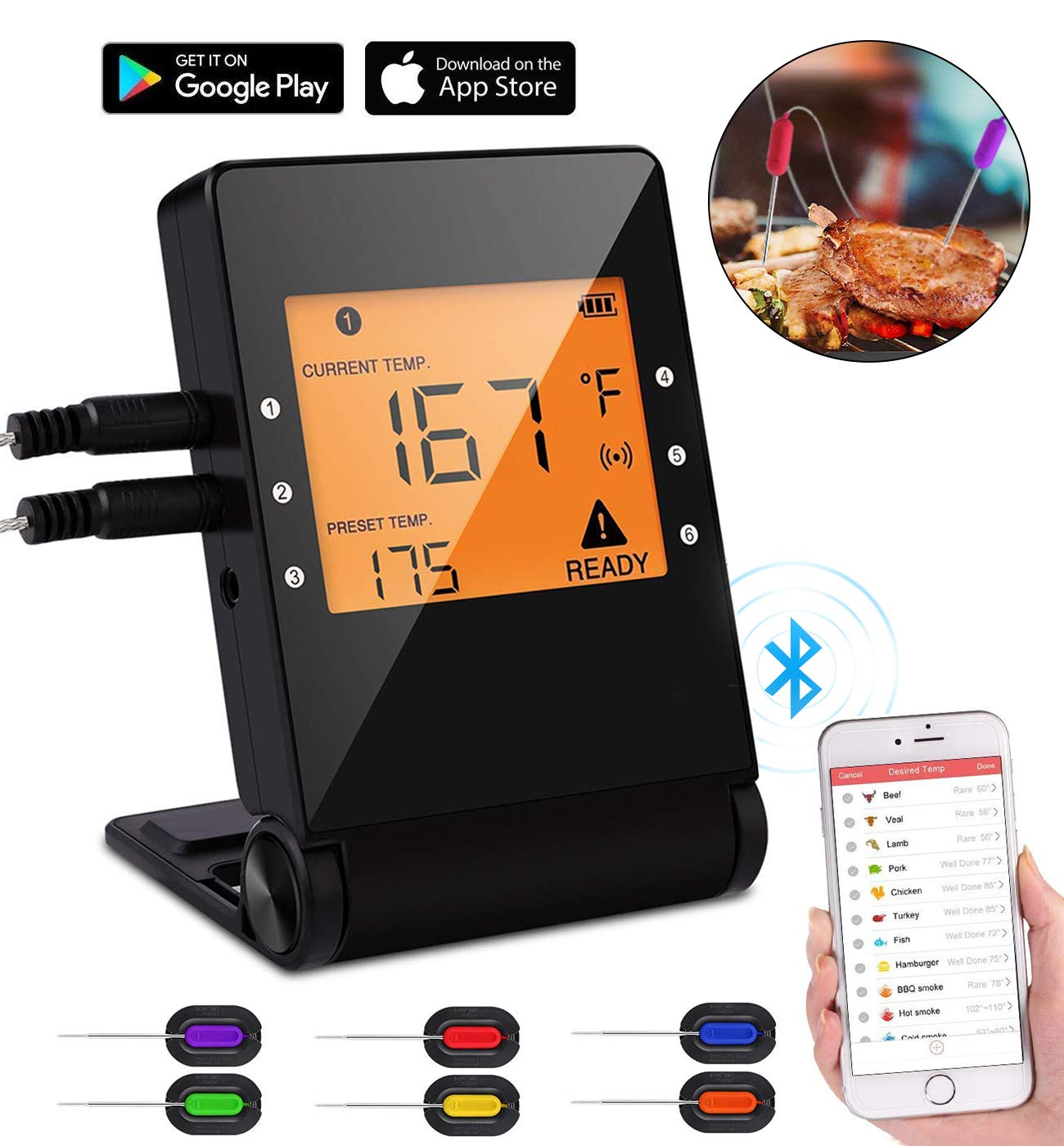 Digital Bluetooth Meat Thermometer,Wireless Remote Cooking Food Grill Thermometer with 6 Stainless Steel Probes for instant read BBQ Grilling, Kitchen Cooking and Smokers Thermometer by Wiw