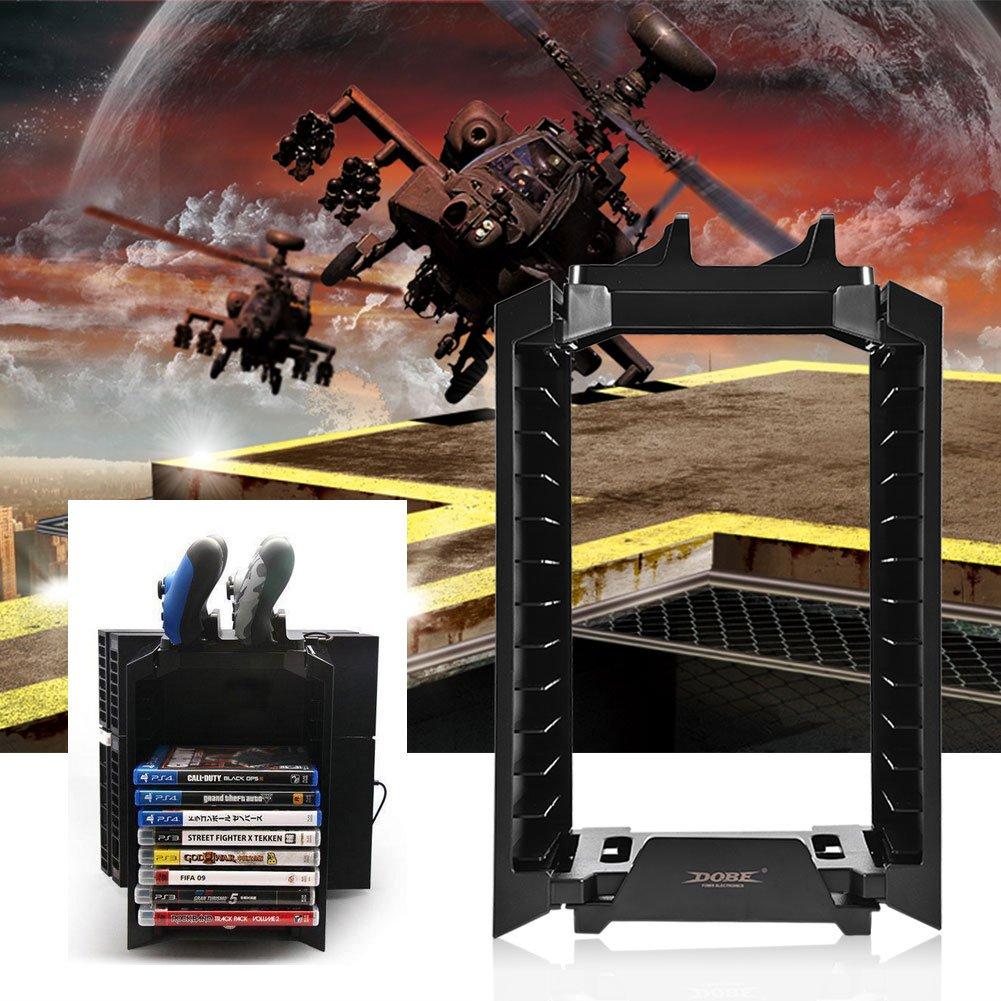 Host-Controller und Schichten Game Disks Storage Tower Halter 0026 vertikale Konsole St/änder L/üfter f/ür PS4 Slim//PS4 Pro//XboxONE Fosa 3 in 1 PS4 Zubeh/ör