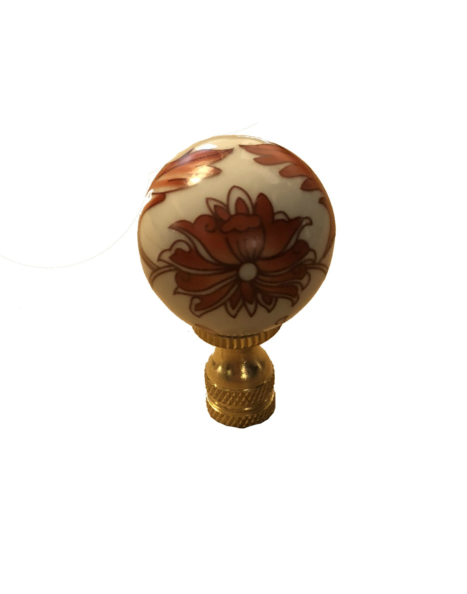 White Scroll Chinoiserie Finial Lamp Shade Topper Porcelain Asian Chinese Pansy Daisy Impatian Floral Leaf Motif Oriental Lamp