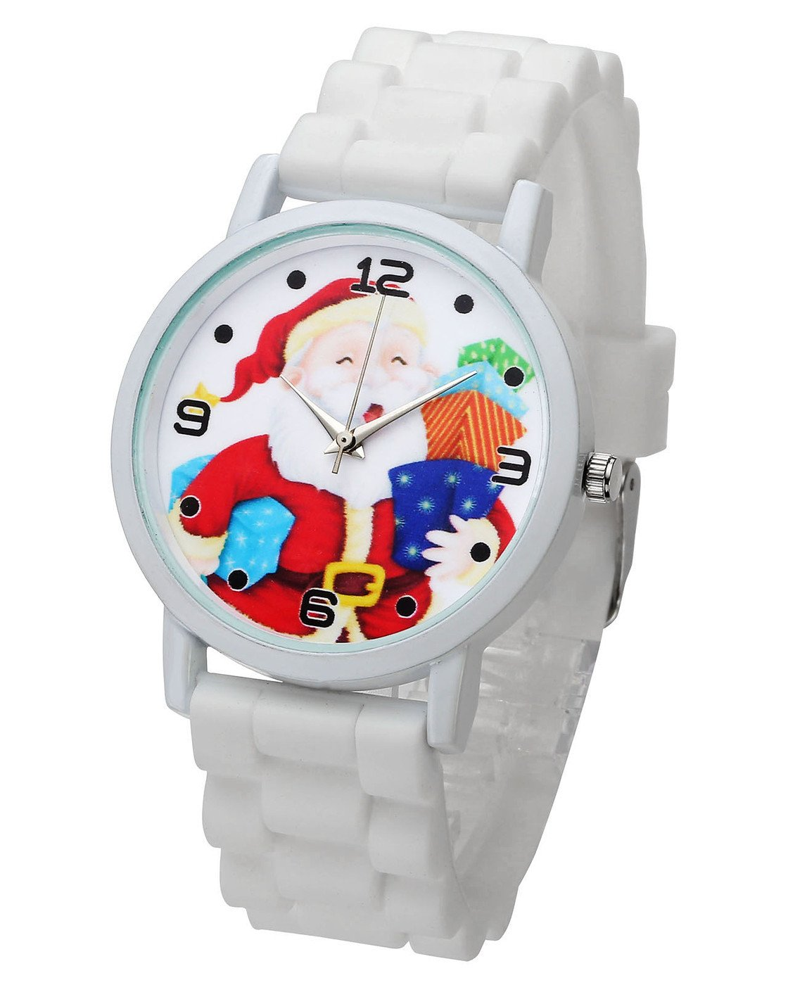 Top Plaza Cute Casual Father Christmas Analog Quartz Watch Santa Claus Pattern Silicone Band Arabic Numerals Wrist Watch for Kids Children #1(White)