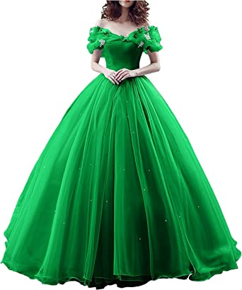 759afb8090a Changuan Off Shoulder Ball Gown Evening Prom Dress Princess Sweet 16 Quinceanera  Dresses Lace Up Apple