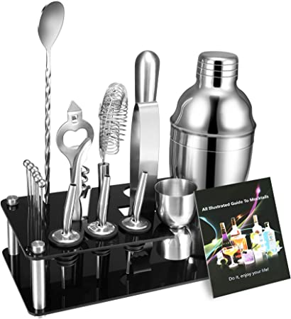 17-Piece Bartender Kit Cocktail Shaker Set, Stainless Steel Bar Tools with Sleek Display Stand Recipes Booklet