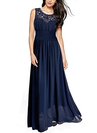 5b11d9f5b755 Miusol Womens Retro Floral Lace Sleeveless Wedding Party Dress, Navy Blue,  X-Large