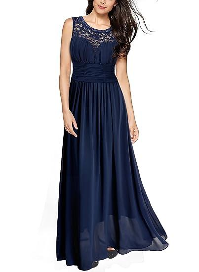 3facdb452dd927 Miusol Damen Elegant Sommer Trägerkleid Faltenrock Rundhals Cocktailkleid  Spitzen Langes Kleid Dunkelblau EU 36/38