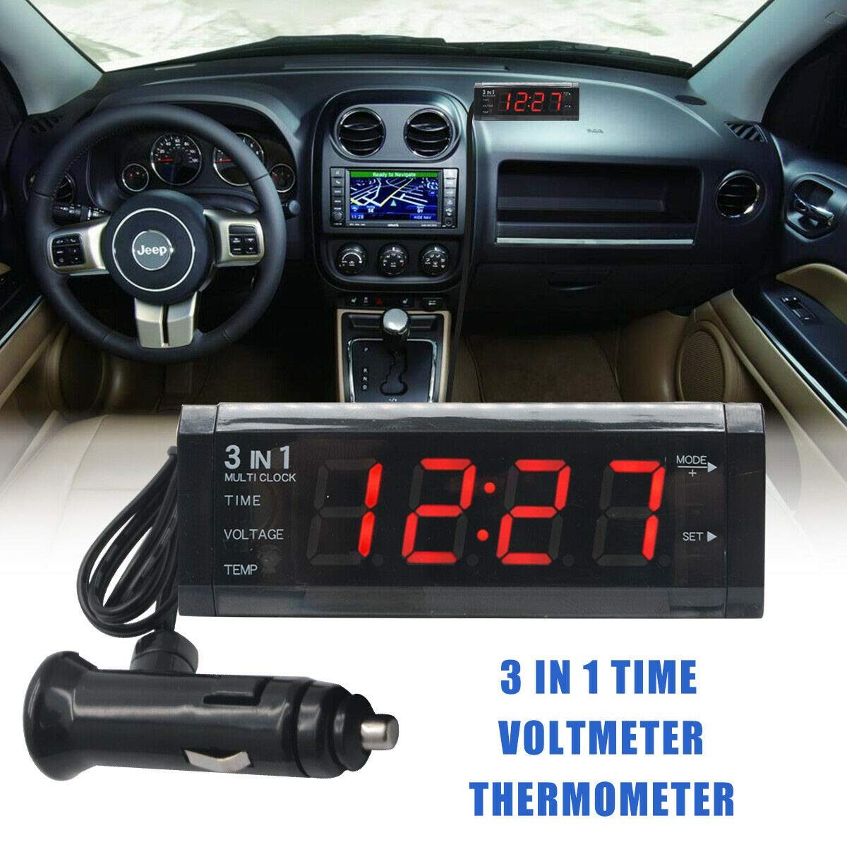 UTP 12V 3 in 1 Vehicle Car Kit Thermometer Clock LED Digital Display Voltmeter