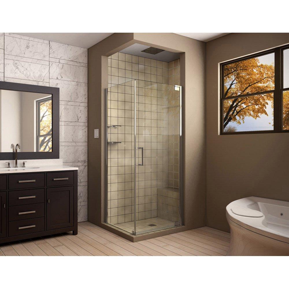 DreamLine Elegance 30 in. D x 30 in. W, Frameless Pivot Shower ...