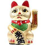 Winkekatze MANEKI NEKO 21cm golden glitter