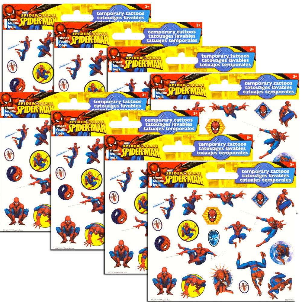 Marvel Spiderman Tatuajes temporales para Fiestas (150 Tatuajes ...