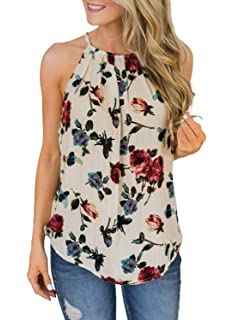 a85bf83d690a4 Home   Kitchen Storage   Organization Womens Floral Print Tank Tops Halter  Summer Strappy Boho Vest Casual ...