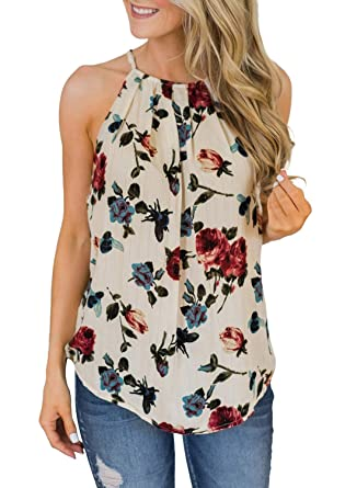 744e539c16 Aleumdr Womens Casual Floral Printed Sleeveless Tunic Blouse Summer Tops   Amazon.co.uk  Clothing