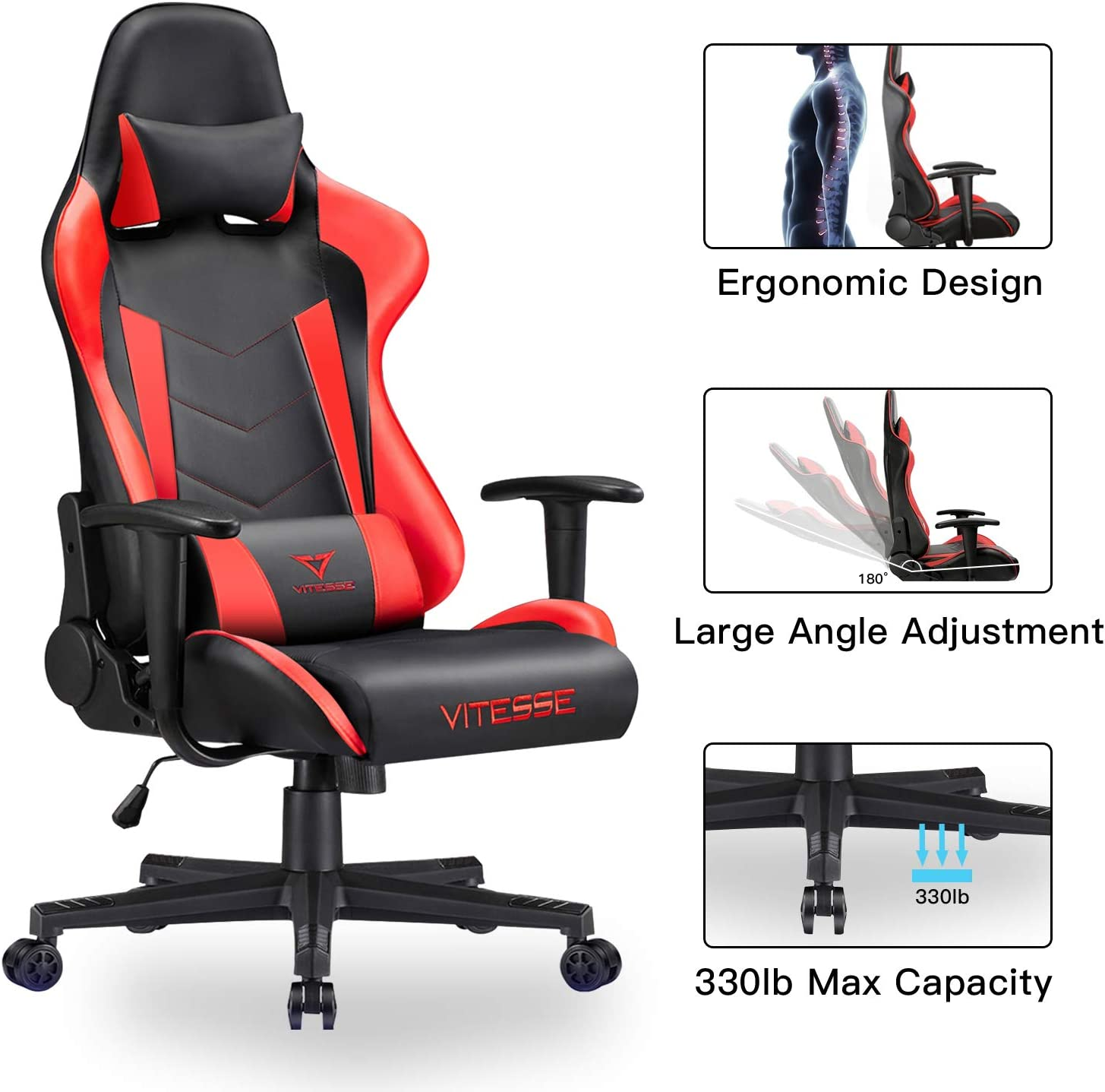 Vitesse Gaming Chair Racing Style High-Back PC Chair Ergonomic Office Desk Chair Swivel E-Sports Leather Computer Chair with Lumbar Support and Headrest (Red)