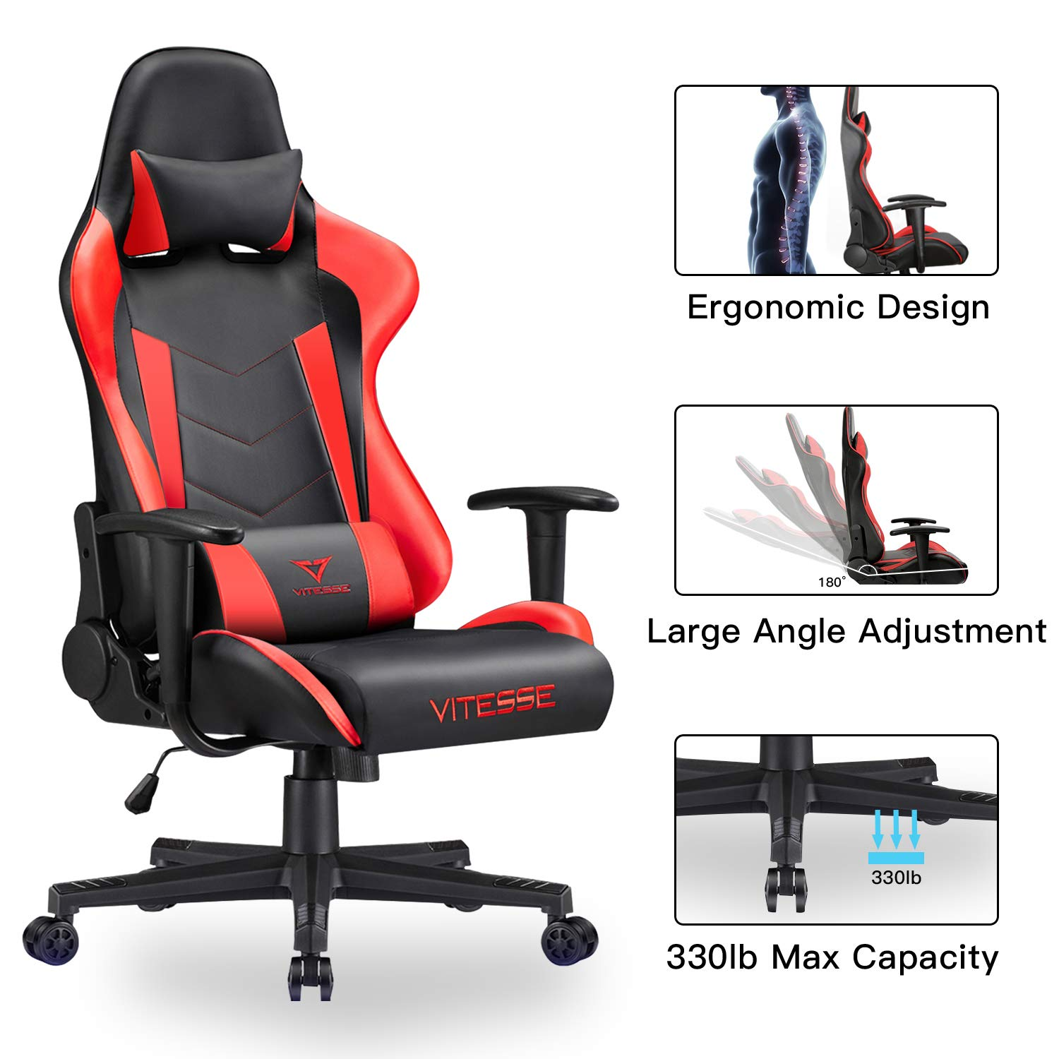 Vitesse Gaming Chair Racing Style High-Back PC Chair Ergonomic Office Desk Chair Swivel E-Sports Leather Computer Chair with Lumbar Support and Headrest (Red) by Vitesse
