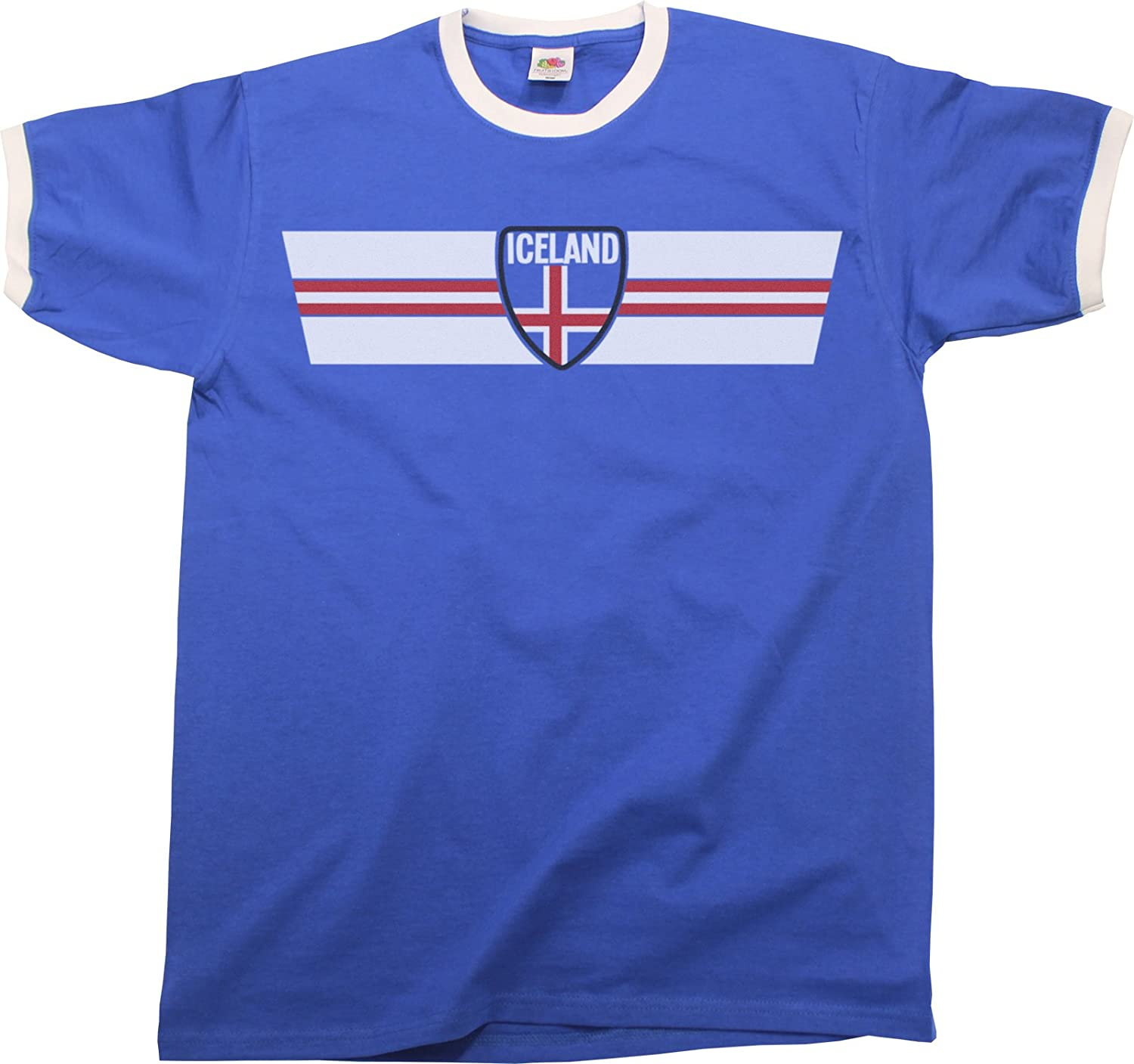 5c754b3964e Mens World Cup 2018 T-Shirt Iceland Retro Strip Patriotic Ringer Football  Top: Amazon.co.uk: Clothing