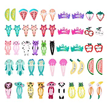 0b2a6e2c5 Amazon.com : 50 Pcs Baby Girls Hair Clips, Lovely Metal Snap Hair Pins for  Kids Girls Hair Accessories : Beauty
