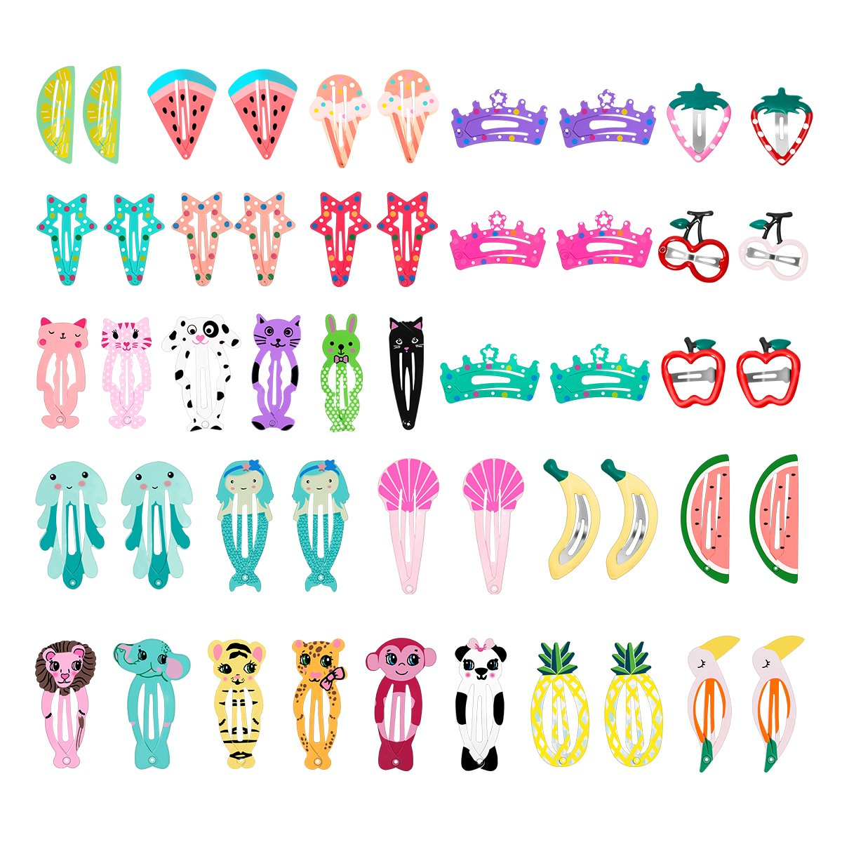 50 Pcs Baby Girls Hair Clips, Lovely Metal Snap Hair Pins for Kids Toddlers Girls Hair Accessories