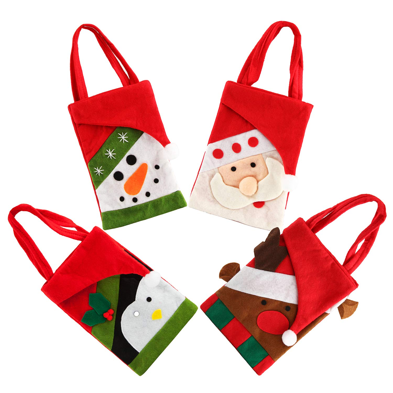 4pcs Christmas Candy Bags Small Handbag Xmas Snowman Santa Claus Gift Treat Goodie Tote Bag for Kids Children Home Decorations Shopping, 8.2×5.7 Inch