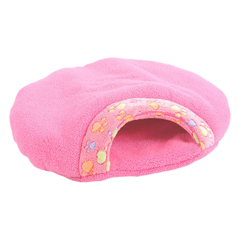 Boodtag Niche Maison Lit Chat Sac de Couchage Souple en Velours de Corail Nid Hiver Chaud Chaton Animaux Bed (S, Rose)