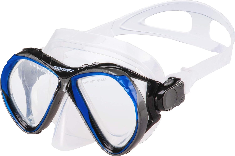 masque de snorkeling en verre tremp/é AQUAZON BARCELONA Set de snorkeling de haute qualit/é snorkeling avec haut semi dry pour les Adultes set de natation set de plong/ée