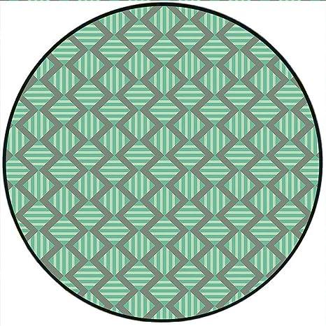Amazoncom Short Plush Round Rugs Retro Geometrical Striped