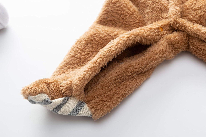 TAOHONG Baby Boys Girls Deer Antlers Style Jumpsuit Warm Footed Hoodies Fleece Snowsuit Romper