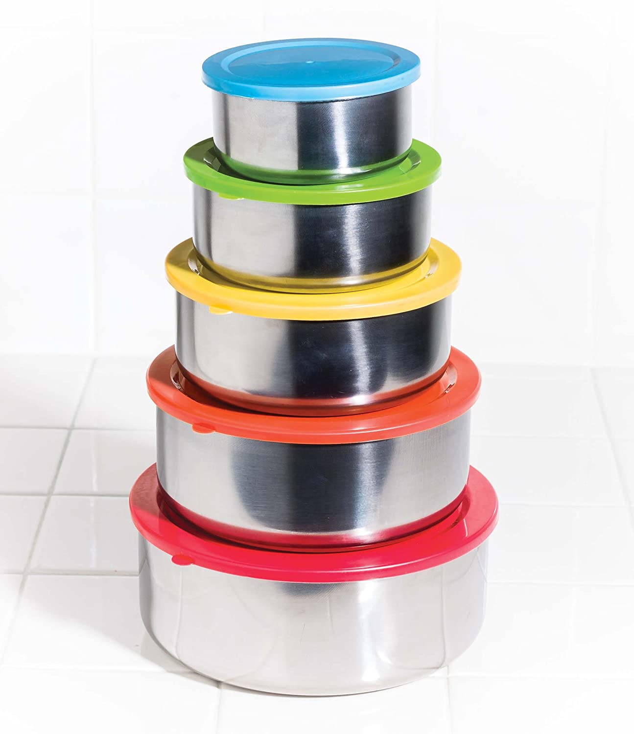 Stainless steel storage containers for kitchen - Amazon Com 10 Pcs Stainless Steel Mixing Bowls Or Food Storage Containers Set With Colored Lids Kitchen Dining