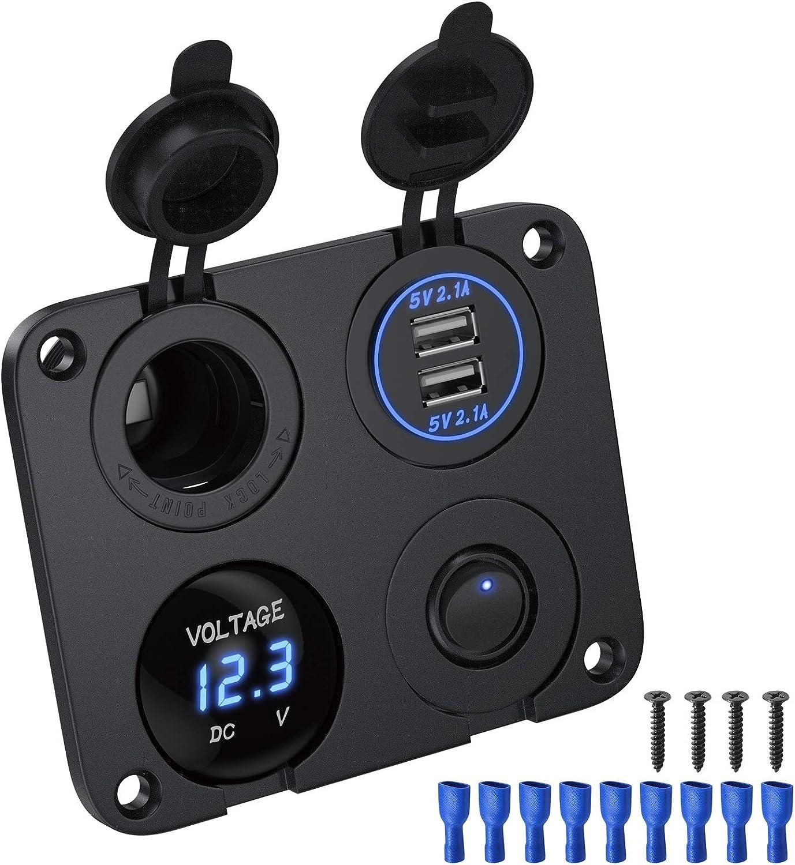Deyooxi 4-en-1 Toma de Corriente de Panel multifunción Cargador coche con Dual de Toma USB,Encendedor de Cigarrillos,Voltímetro LED,Interruptores para Interruptores para Marina, Barco,Coche,Camión