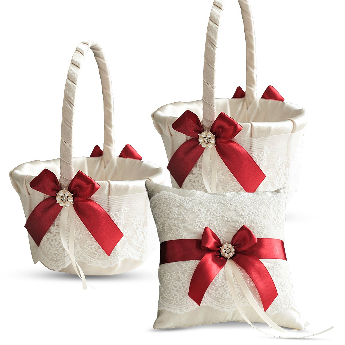 Alex Emotions Ivory Ring Bearer Pillow and Basket Set | Lace Collection | Flower Girl & Welcome Basket for Guest | Handmade Wedding Baskets & Pillows (RED)