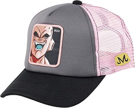 Capslab Trucker Cap Dragon Ball Z Majin Buu Grey, Black & Pink ...