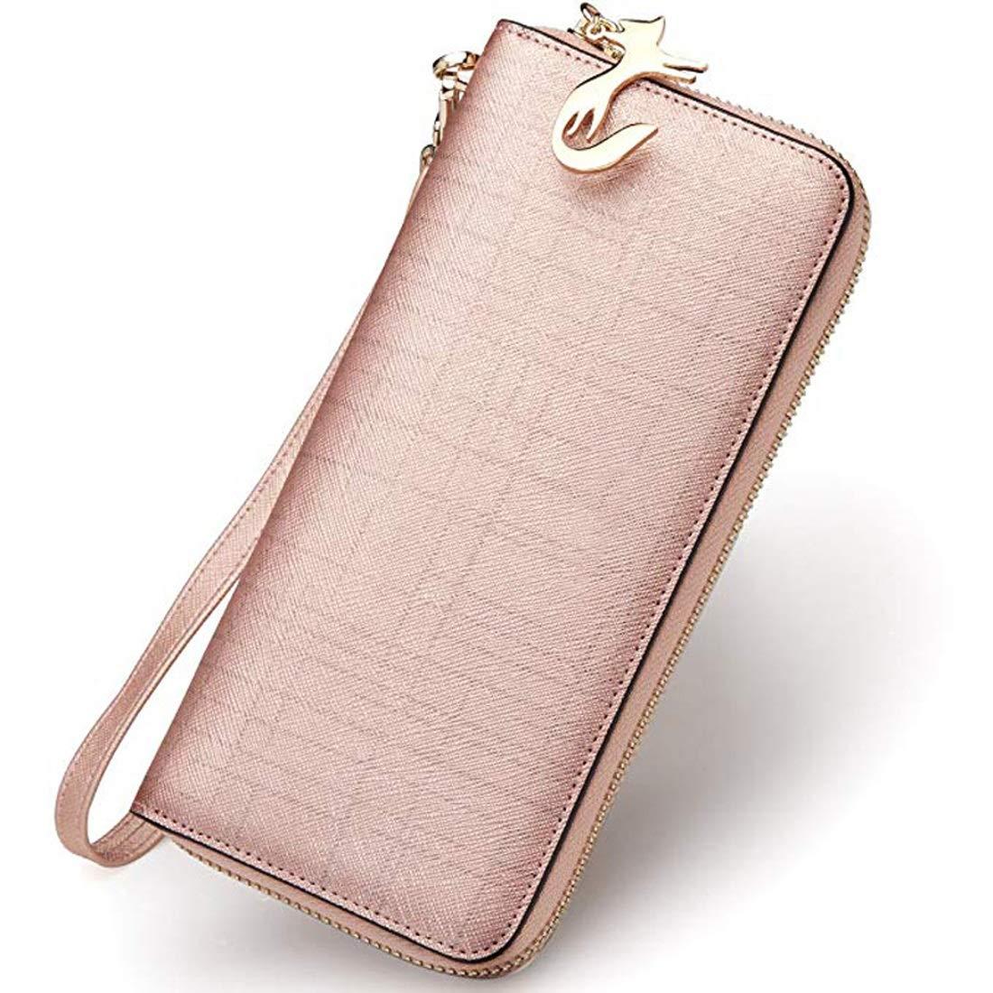 728b2653b RMXMY Cartera de cuero de las mujeres de piel de vaca personalidad de la  moda multifunción doble línea de línea bolso de embrague simple cartera  creativa ...
