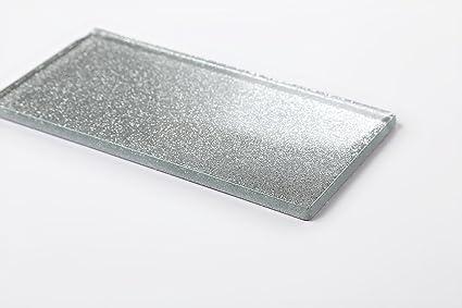 Qm di piastrelle da parete in vetro argento con glitter