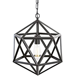 Light Society Geodesic Pendant Light, Matte Black, Geometric Vintage Modern Industrial Lighting Fixture (LS-C110)