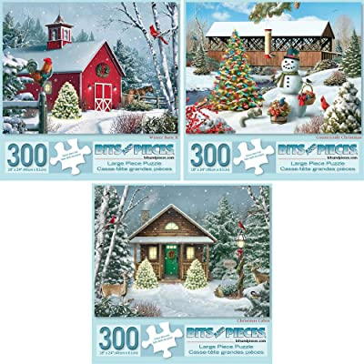 Bits and Pieces - Set of Three (3) 300 Piece Jigsaw Puzzles for Adults - Winter Barn II, Countryside Christmas, Christmas Cabin - 300 pc Holiday Snow Snowman Jigsaws by Artist Alan Giana: Toys & Games