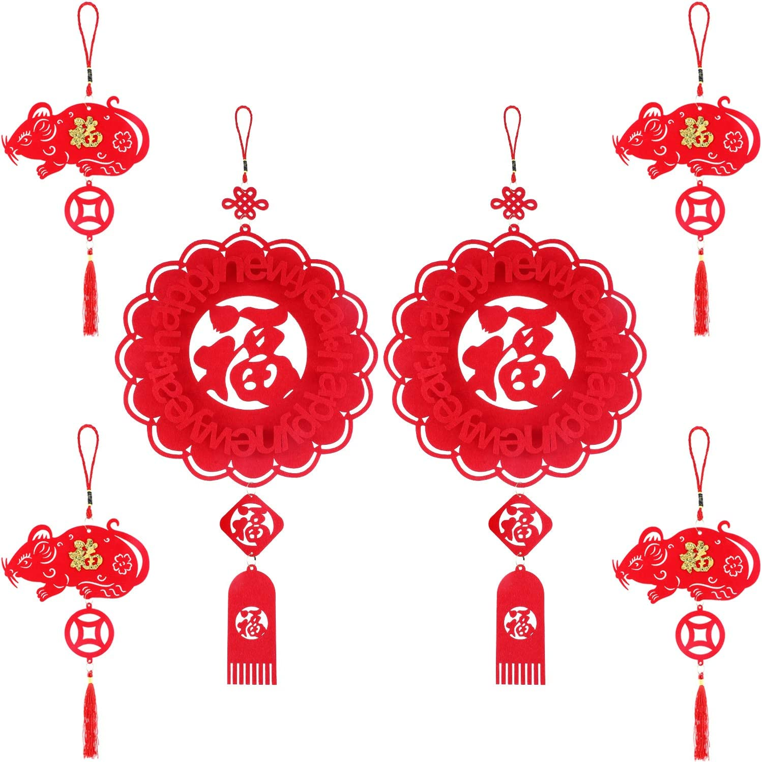 Boao 6 Pieces Chinese New Year Decorations Fu Chinese Spring Festival Home Decor Hanging Chinese Knot Pendant 2020 New Year Rat Pendant Good Luck Ornaments for Home Office Restaurant