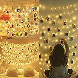 Amteker LED Foto Clip Lichterketten, 100 LED 10M Bilderrahmen dekor für innen, Haus, Weihnachten, Hochzeit, Schlafzimmer (Mit 50 Holzklammern & 20 Nägeln)