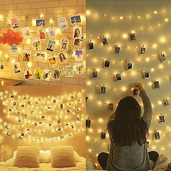 Amteker LED Foto Clip Lichterketten Für Zimmer, 100 LED 10M Bilderrahmen  Dekor Für Innen,
