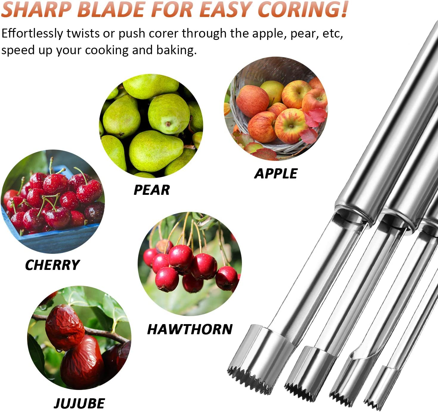 Apple Corer Pitter Set Stainless Steel Core Seed Remover Tool Fruit Multi-Function for Pear Jujube Cherry for Home 4PCS Home Appliance