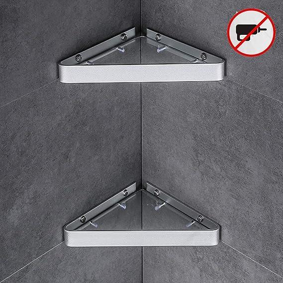 2 Piezas De Baño Estante Ninguna Perforación Estantes Baño De Esquina De Vidrio Templado De Ducha De Aluminio Espacio En Las Estanterías De Ducha Cesta Montado En La Pared Triángulo Baño Cocina:
