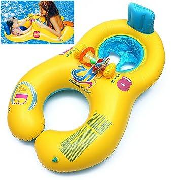 anillo de natación del bebé de la madre, natación flotador del niño con la silla